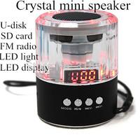 Brand New Crystal LED flashs MP3 Music Speaker Mini Speaker portable Speaker TF U Disk FM Radio Player free shipping 200pcs