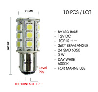 (10pcs) x BA15d Level Pin 3W White LED Marine Ship Signal Light Bulb 12V DC CE RoHS Top + - Polarity