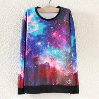 2014 New European and American Women's Autumn Sky Universe Loose Star Sweatshirt Printing Round Neck Hoodies