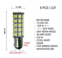 (5pcs) x BA15d Level Pin Brightest 5.5W White LED Marine Ship Signal Light Bulb 10-30V DC CE RoHS Top + - Polarity