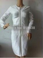 best quality 2014 White metallic leatherette long sleeve zipper front Bandage Dress  Celebrity dress wholesale black/beige