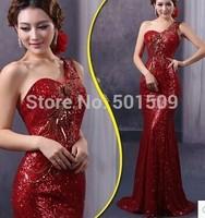 luxury single shoulder wine red/champagne mermaid full sequins bling embroidery floral mermaid dress slim evening dress