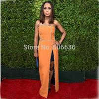 Kerry-Washington Best Dressed emmys-2014 Red Carpet Designer Celebrity Dresses Straight Strapless Beaded Split Open Side Leg