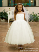 2014 new beaded sequined princess bride , flower girl dress small factory direct wholesale advanced customization