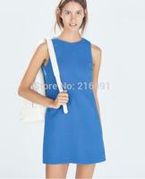 2014 New Fashion women  sexy back split sleeveless party dress Lady casual slim brand design pure color mini dresses #J326