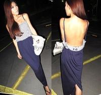 Dots Spaghetti Strap Minimalist Backless Open Cutout Back Slip Long Women Dress New