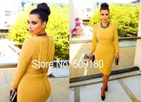 Sexy high quality yellow long sleeve custom made formal celebrity dress design JO9936 celebrity dresses kim kardashian