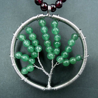 (10 Pcs/lot) New Fashion Wire Wrapped Life Tree Round Ball Green Aventurine Stones Beads Circle Pendant Bead Wholesale