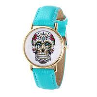 2014 New Fashion Wristwatch Printed Printed Skull Casual Watch for Ladies Quartz Watches Women Dress Watch