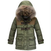 2014 New boy coat Fashion Large fur collar two Horn button zipper contrast color Hooded down coat winter jacket for boy 3 Colors