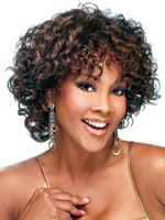 Attractive Mahogany Side Parting Heat-resistant Fiber Woman's Medium Length Brown Curly Synthetic Wigs