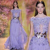 Custom Made A-Line Round Neck Cap Sleeves Lace Applique Chiffon Runway Show 2015 Spring Design Long Evening Dresses