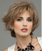 Free Shipping 2014 fashionable Synthetic Mixed Colour Short Curly Celebrity Synthetic Hair Wig For Women