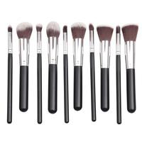 Real Techniques 10pcs 2014 silver tube Professional Makeup Brushes Set High Quality Cosmetics Foundation Blending Blush tool Kit