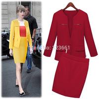 New 2015 women plus-size work wear suit coat  jacket skirt business suits formal office suits work  uniform style blazer