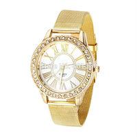 2014 New Fashion Women Dress Watch Full Steel Quartz Wrist Watch Golden Mesh Slim Strap Women Wristwatches