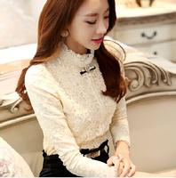 new fashion women lace blouse plus thick velvet long sleeve print slim blouse shirt sheer basic shirts vestidos blusas femininas