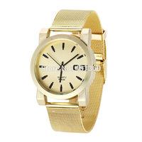 2014 New Fashion Women Quartz Wrist Watch Golden Stainless Steel Watches Diamond Imitated