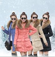2014 Slim Down coat Thicken fur collar big Pocket winter jacket for women medium-long warm Parka Plus size Q178