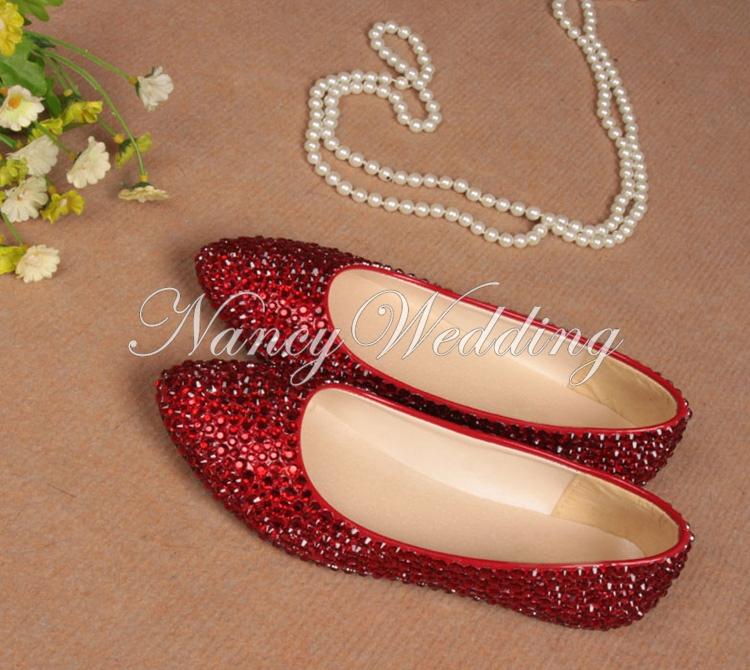 Elegant Red Flats Perfect Custom Made Wedding Evening Dress Shoes Rhinestone Bridal Shoes