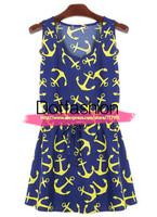 Vintage Novelty Designer Party Evening Elegant Blue Tunic Slimming Female Vestidos 2014 Sleeveless Anchors Print Pleated Dress