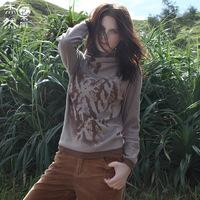 2014 new winter women's sweaters women's brands in Europe stand Sen female loose cotton sweater