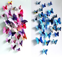 Free shipping with Tracking 3D Butterfly stickers 3D pvc butterfly 12pcs