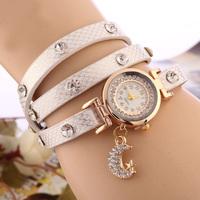 New Fashion Lady Bright long leather Rhinestone Watches, Women Dress watch crystal moon pendant Wristwatch quartz watch