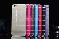 "NEW  Plaid Grid Brushed Aluminum Metal hard case for iPhone 6 4.7""  inch 100pcs/lot"