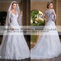 Robe De Marriage 2014 Sexy Mermaid Wedding Dresses Plus Size Long Sleeve Lace Wedding Dresses Elegant Vestido De Noiva Vintage