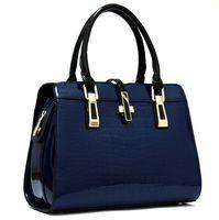 2014 new fashion luxury women handbag designer patent leather solid handbag alligator zipper hasp for girls shoulder bag punk