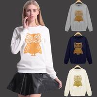 Free shipping Women Elegant Cartoon Animal Owl Print Long Sleeve Hoodies Hoody Sweatshirt Casual Coat Tops Sportswear M L XL XXL
