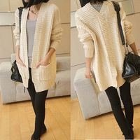 Woman Fashion Knitted Long Sweater Lady Cardigans V-neck Christmas Cute and Casual Free size 4 Colors Thin Wool D256 New arrival