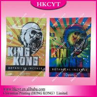 Wholesale 10g King Kong 3 flavors herbal incense ziplock bags / High quality aluminum foil spice potpourri bag