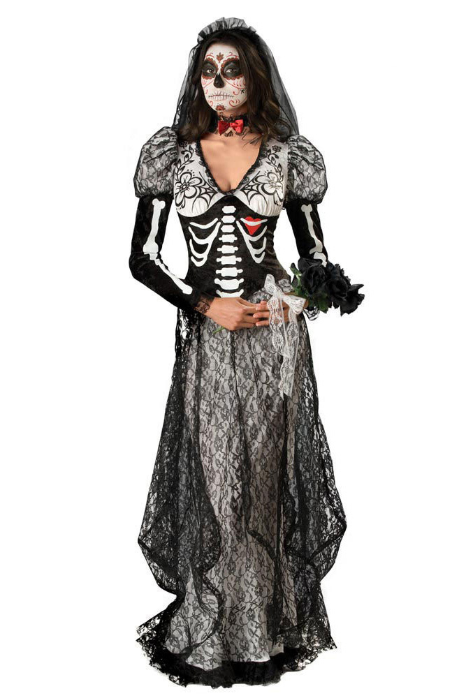 2014 NEW Sexy Halloween Costumes Celebrate the spookiness Super Deluxe Bone Yard Bride Costume LC8838(China (Mainland))