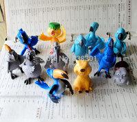 Free Shipping 12pcs/pack Action Figure Toys Rio 2 Jewel/Nico/Blu/Luiz Mini PVC Cartoon Action Figure Model Toy For Kids/Gift