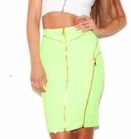 Freeshipping Top Quality 2014 Newest girls green zipper High-waist rayon elastic knitted bodycon hl bandage skorts