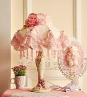 European pastoral bedroom lamp pink lace fabric princess wedding celebration gift bedside table lamp