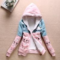Winter warm thick fleece Women Hoody Applique cute sheep women's hooded hoodies sweatshirts free shipping XA2