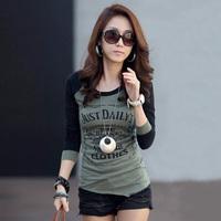 2014 Autumn Long Sleeve O-neck Cotton T Shirt Women Fashion Fitness Base Tees Plus Size Letter Printed Women's Tops 5101