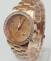 with BRAND LOGO Stainless Steel Women Fashion watch 2014 Hot sale ePacket Brand Diamond Rose Gold Men Janpan Quartz Wristwatch