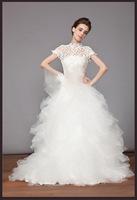 Free shipping wedding dress lace+oganza+satin