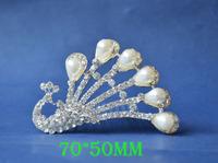 2014 New Fashion Wedding Bridal Pearl Crystal Rhinestone Crown Headband Jewelry Tiara Hair Comb Clip G0014