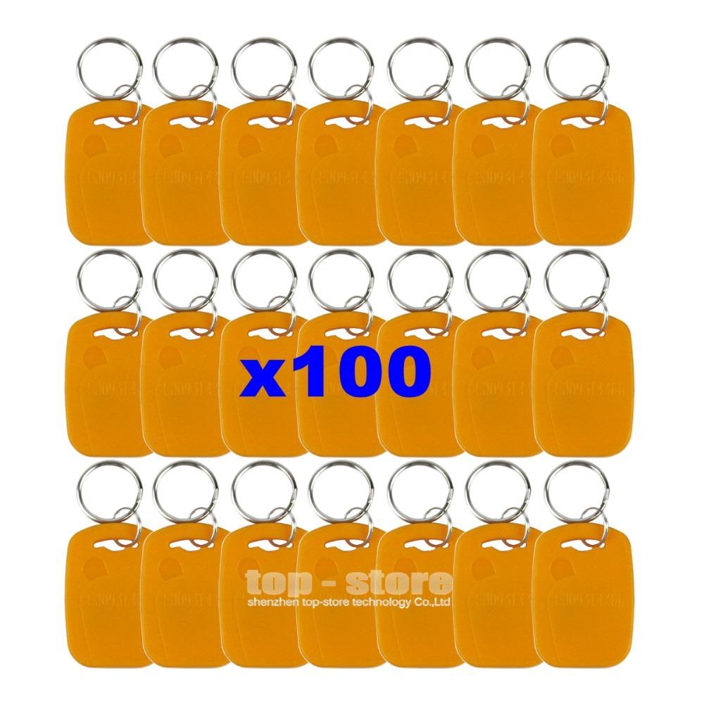 100pcs/lot Rfid 125Khz Proximity Rfid ID Card Keychain Key Tags Keyfobs For Door Key Yellow(China (Mainland))