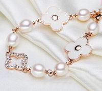 Wholesale Jewelry Brand new 18K Gold Plated lucky rhinestone epoxy clover charm bracelets fashion girl jewelry gift