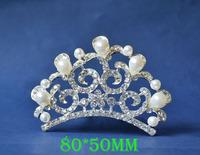 2014 New Fashion Wedding Bridal Pearl Crystal Rhinestone Crown Headband Jewelry Tiara Hair Comb Clip G0015