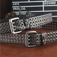 Vintga Belts For men and women's Hollow out leather belt 2014 New designs Rivet decoration Cowhide Belt Black/White/Brown/Orange