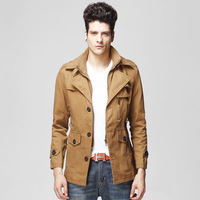 Plus size Trend jacket Men's trench Fake two piece Long style coat Luxury Fashion Tooling Free shipping New 2014 Autumn winter