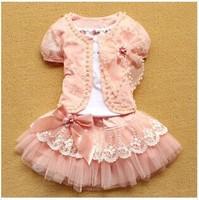 Retail,New Arrival Girls Fashion Three Piece  Short Sleeve  Shirt  , Girls Princess  Lace Bow Skirt, Freeshipping,