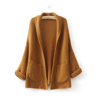HOT SALE ! 2014 autumn new women large pockets loose kimono style knit cardigan sweater buckle jacket rolled up their sleeves 09